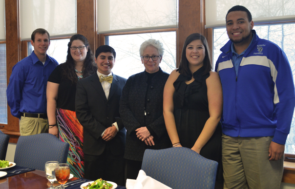(pictured left to right) Phillip Vertin – junior actuarial science major, Rachael Downing – junior elementary education major, Hector Velazquez – sophomore, political science major, Dr. Rebecca Sherrick – Aurora University President, Dulce Heelan – junior health science major, and Michael Walker – junior athletic training major.