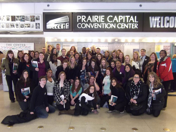 Social Work students at the Prairie Capital Convention Center in Springfield, Ill.