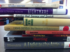 Book Spine Poems in Phillips Library
