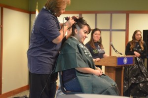 AU student has her head shaved at the St. Baldrick's event