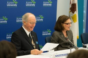 U.S. Congressman Bill Foster and Sherry Eagle, Executive Director of the Institute for Collaboration at AU, discuss the 21st Century STEM Competitive Jobs Act.