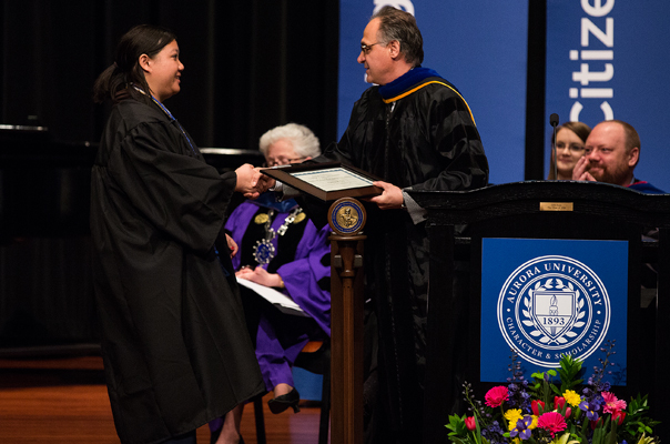 Patricia Lui, AU '13, receives the Stanley H. Perry Performing Arts Award at Honors Convocation 2013.