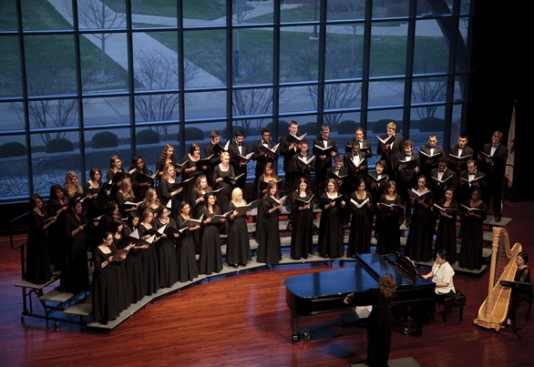 The Aurora University Chorale regularly performs in Crimi Auditorium.