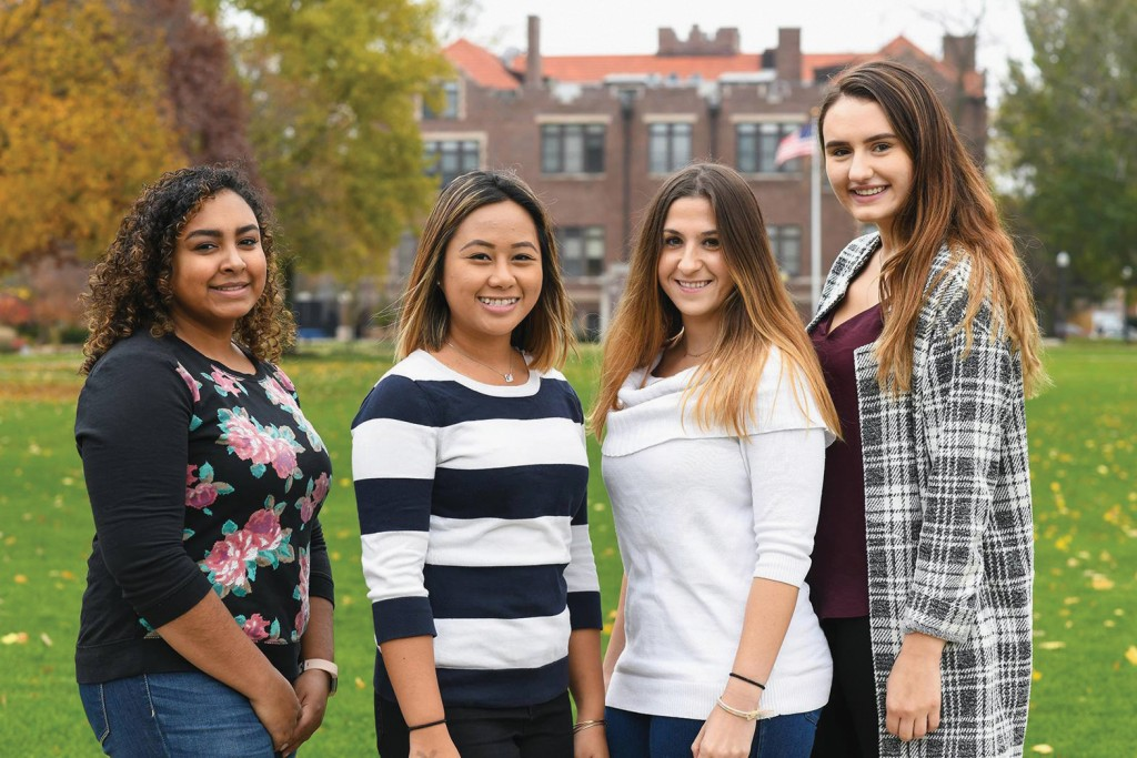 In an unprecedented accomplishment, Alexis Hodges '21, Shea Demonteverde '20, Kristy Britton '19, and Kirsten Mueller '19 (from left) have been elected to the Student Nurses Association of Illinois board of directors.